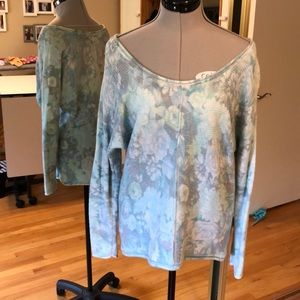 Free People Soft Fuzzy Aqua Floral Sweater Small S